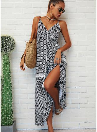Estampado Vestido linha-A Sem mangas Maxi Casual férias Tipo Vestidos na Moda