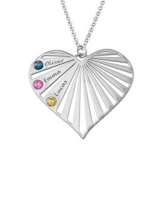 Personalized silver tre Namnhalsband Hjärta Halsband Birthstone Halsband - Julklappar