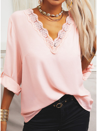 Lace Solid V-Neck 3/4 Sleeves Button Up Casual Blouses