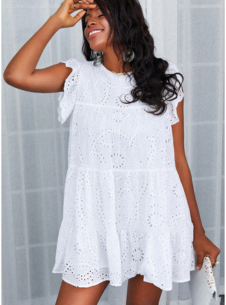 Solid Hollow-out Shift Cap Sleeve Mini Casual Dresses