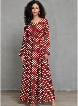 PolkaDot A-linjeklänning Långa ärmar Midi Fritids skater Modeklänningar