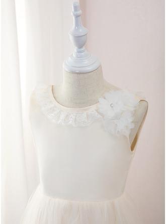 Coupe Évasée Longueur mollet Robes à Fleurs pour Filles - Tulle/Dentelle Sans manches Col rond avec Fleur(s)