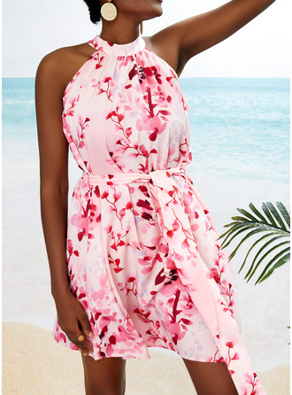 Floral Print A-line Sleeveless Mini Casual Vacation Skater Dresses