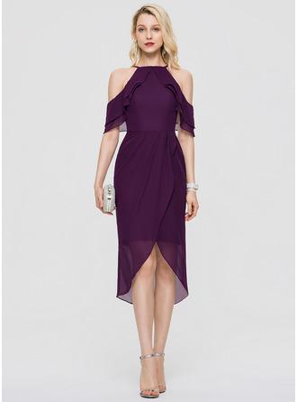 Платье-чехол квадратный вырез асимметричный шифон Коктейльные Платье