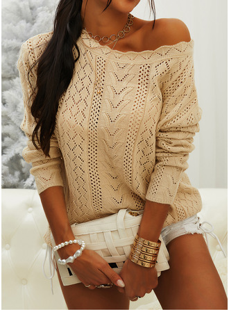 Off the Shoulder Casual Solid Sweaters