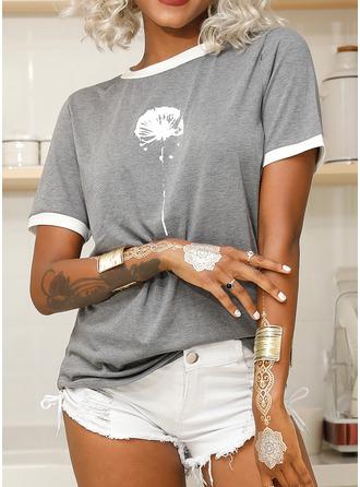 Impresión Manga corta Algodón poliéster Cuello redondo camiseta Blusas