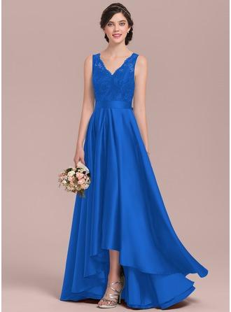 A-Line V-neck Asymmetrical Satin Lace Prom Dresses