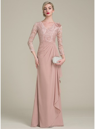 A-Line/Princess V-neck Floor-Length Chiffon Lace Mother of the Bride Dress With Flower(s) Cascading Ruffles