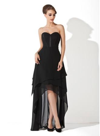 A-Line/Princess Sweetheart Asymmetrical Chiffon Evening Dress