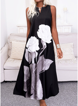 Floral Print Shift Sleeveless Maxi Casual Dresses