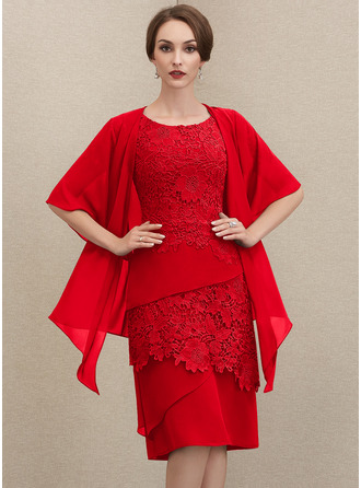Etui-Linie U-Ausschnitt Knielang Chiffon Spitze Kleid für die Brautmutter