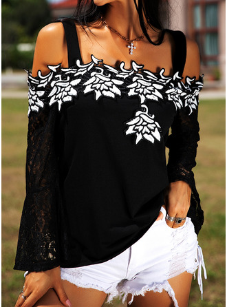Embroidery Lace Cold Shoulder Flare Sleeve Long Sleeves Casual
