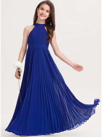 A-Line Scoop Neck Floor-Length Chiffon Junior Bridesmaid Dress With Pleated