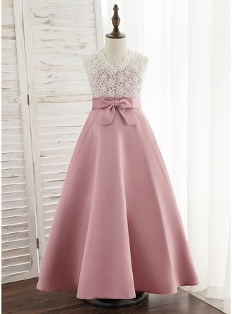 A-Line Ankle-length Flower Girl Dress - Satin/Lace Sleeveless V-neck With Bow(s)