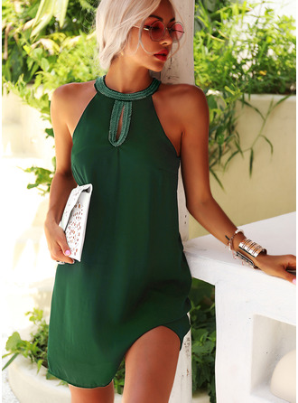 Solid Shift Sleeveless Mini Casual Dresses