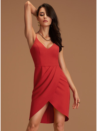 Sheath V-Neck Sleeveless Asymmetrical Back Details Sexy Dresses