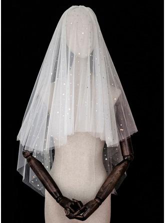 Four-tier Cut Edge Elbow Bridal Veils With Sequin