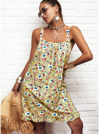 Floral Estampado Vestidos soltos Sem mangas Mini Casual Tanque Vestidos na Moda