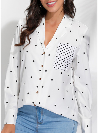 PolkaDot Lapel Long Sleeves Casual Shirt Blouses
