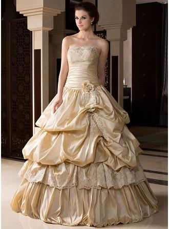 Duchesse-Linie Trägerlos Bodenlang Taft Quinceañera Kleid (Kleid für die Geburtstagsfeier) mit Rüschen Perlen verziert Applikationen Spitze Blumen