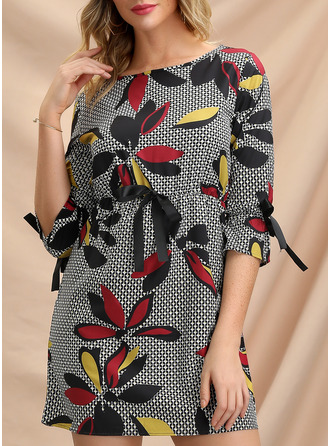 Blommig Print Åtsittande 3/4 ärmar Mini Fritids Modeklänningar