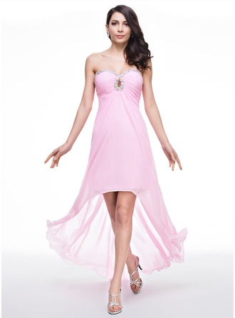 A-Line/Princess Sweetheart Asymmetrical Chiffon Prom Dresses With Ruffle Beading Sequins