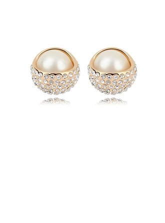 Gorgeous Champaign Gold Plated With Pearl Ladies' Earrings