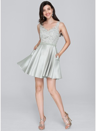 A-Line/Princess Sweetheart Short/Mini Satin Cocktail Dress With Beading Sequins