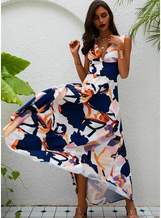 Print A-line Sleeveless Maxi Casual Elegant Skater Dresses