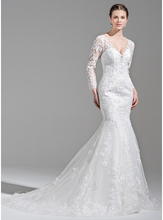 Trumpet/Mermaid V-neck Chapel Train Tulle Wedding Dress With Beading Appliques Lace Sequins