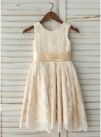 A-Line/Princess Knee-length Flower Girl Dress - Satin/Lace Sleeveless Scoop Neck