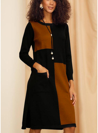 Color Block Shift Long Sleeves Midi Casual Tunic Dresses