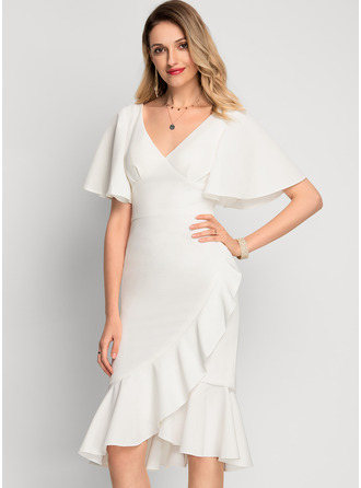 V-Neck Ivory Stretch Crepe Dresses