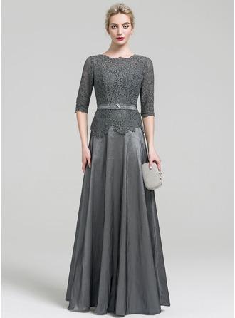 A-Line/Princess Scoop Neck Floor-Length Taffeta Evening Dress With Beading