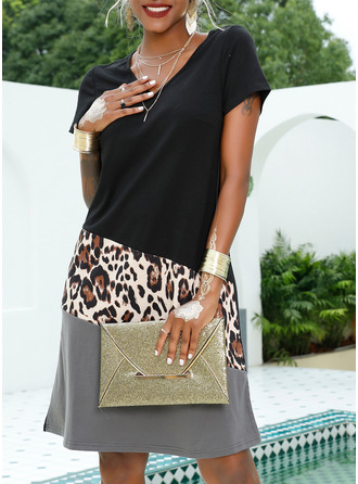 Leopard Patchwork Shift Short Sleeves Midi Casual Vacation T-shirt Dresses