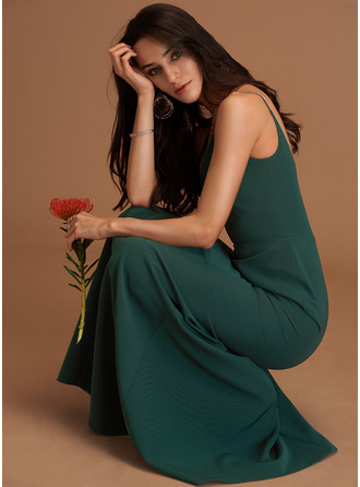 V-Neck Dark Green Stretch Crepe Dresses