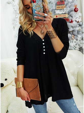 Lace Solid V-Neck Long Sleeves Button Up Casual Blouses (1003255229)