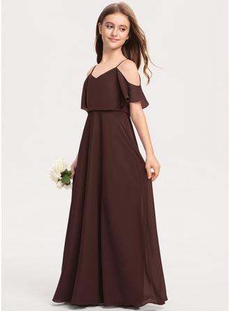 Corte A Decote V Longos Tecido de seda Vestido de daminha júnior