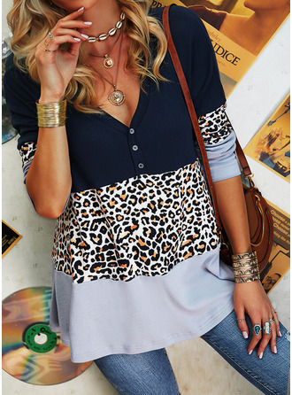 Leopard Color Block V-Neck Long Sleeves Button Up Casual Blouses (1003255159)