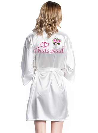 Personlig Brud Brudepike Satin med Kort Personlig Robes Satin robes