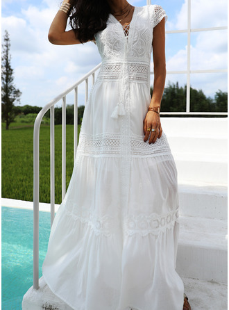Lace Solid A-line Short Sleeves Maxi Party Elegant Vacation Skater Dresses