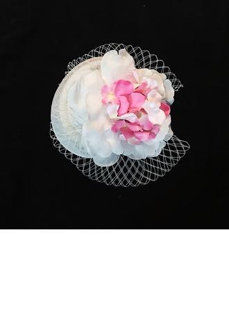 Señoras Elegante Seda artificiales/Tul Flores y plumas