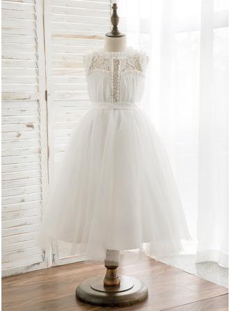 Corte A/Princesa Hasta la tibia Vestidos de Niña Florista - Gasa/Tul/Encaje Sin mangas Escote redondo con Plisado