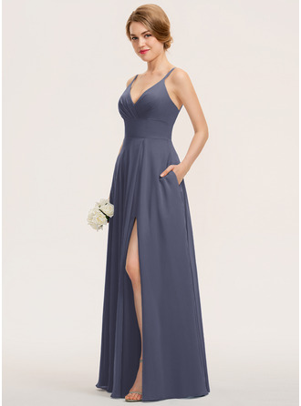 A-Line V-neck Floor-Length Chiffon Prom Dresses With Ruffle Pockets