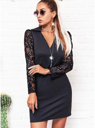 Renda Sólido Bainha Manga Comprida Midi Vestido Preto Casual Vestidos na Moda