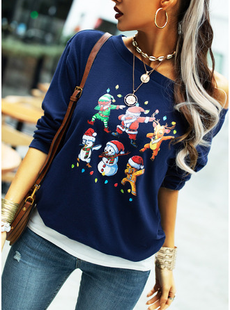Print One Shoulder Long Sleeves Casual