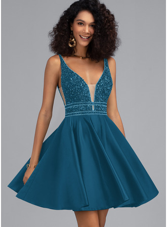 A-Line V-neck Short/Mini Satin Prom Dresses With Beading Sequins