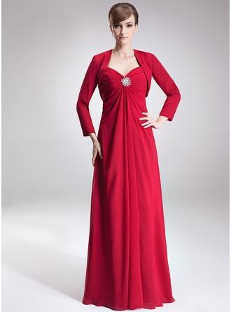 Empire-Linie Herzausschnitt Bodenlang Chiffon Kleid für die Brautmutter mit Rüschen Kristalle Blumen Brosche