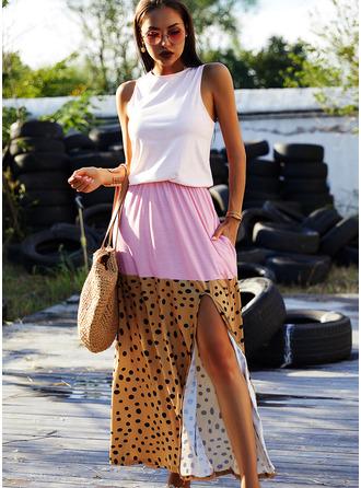 Trozos de color Impresión Vestido línea A Sin mangas Maxi Casual Vacaciones Vestidos de moda