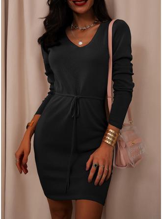 Einfarbig Etui Lange Ärmel Mini Kleine Schwarze Lässige Kleidung Elegant Modekleider
